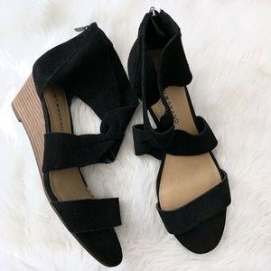 Lucky Brand Tammanee Black Suede Wedge Sandal
